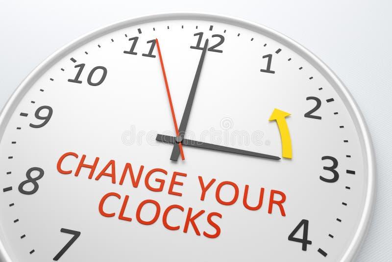 Ändern Sie Ihre Borduhren stock abbildung