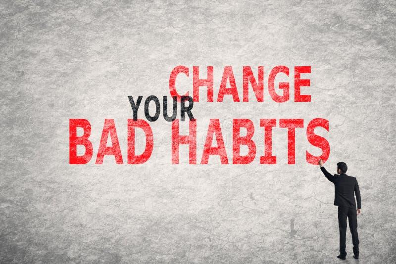Ändern Sie Ihre schlechten Gewohnheiten stockbild