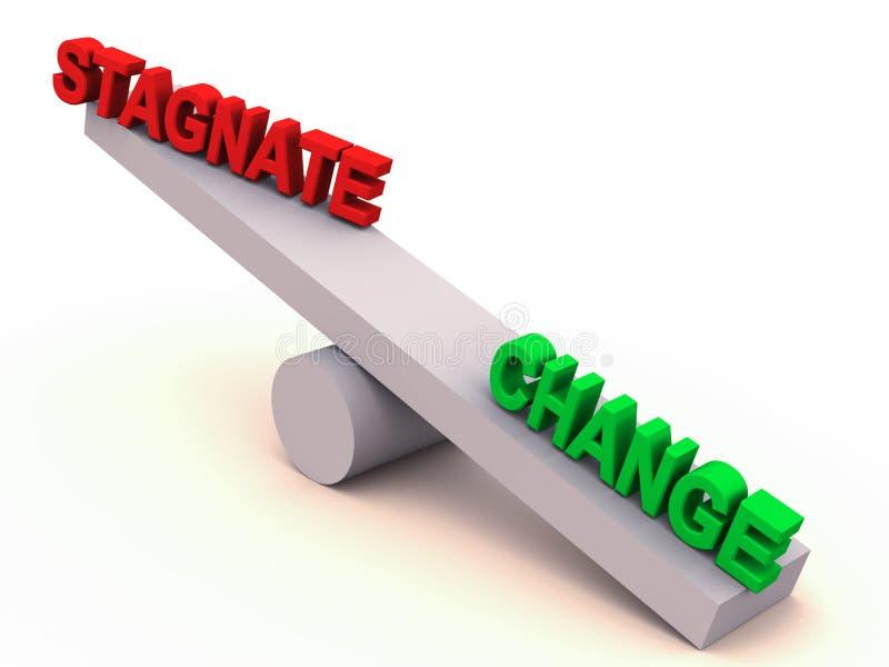 Ändern Sie oder stagnieren Sie Schwerpunkt lizenzfreie abbildung