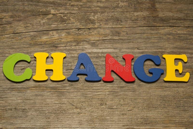 Ändern Sie Wortkonzept stockbild