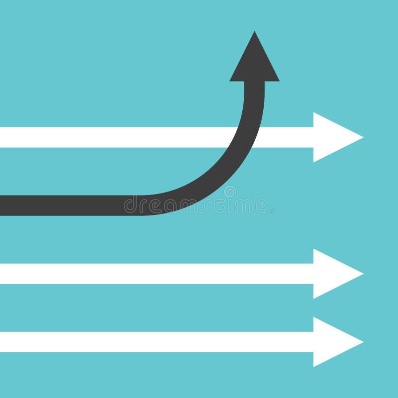 Ändernde Richtung des einzigartigen Pfeiles vektor abbildung
