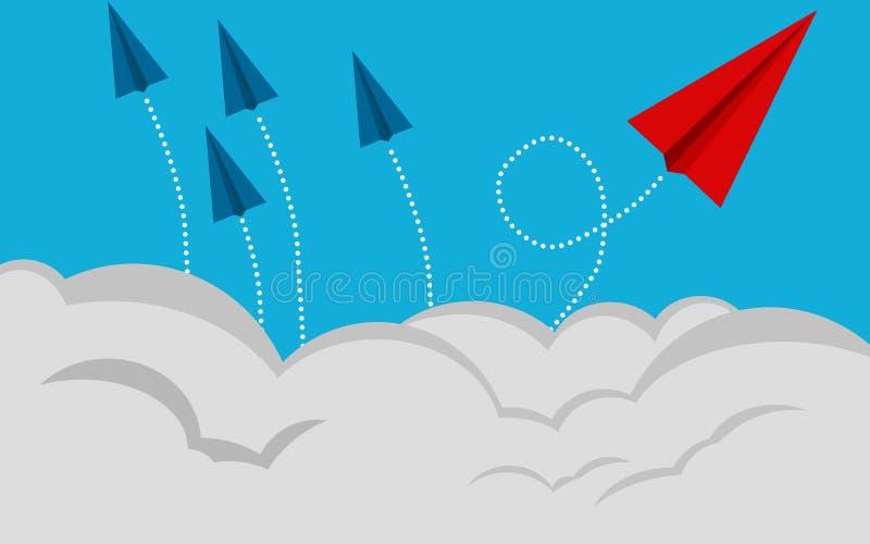 Ändernde Richtung des roten Papierflugzeug-Fliegens auf blauen Himmel lizenzfreie abbildung