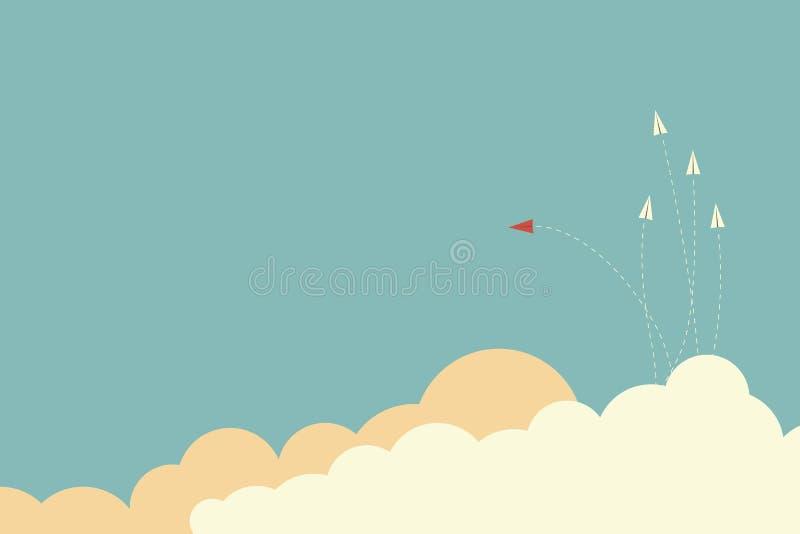 Ändernde Richtung und Weiß des roten Flugzeuges eine Neue Idee, Änderung, Tendenz, Mut, kreative Lösung, Geschäft, Gasthaus lizenzfreie abbildung
