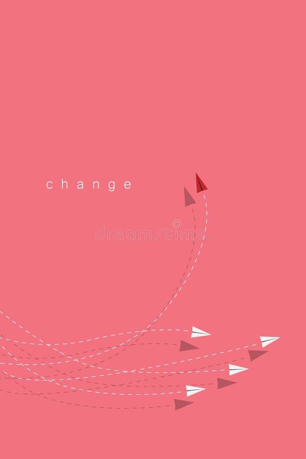 Ändernde Richtung und Weiß des roten Flugzeuges eine Neue Idee, Änderung, Tendenz, Mut, kreative Lösung, Innovation a lizenzfreie abbildung