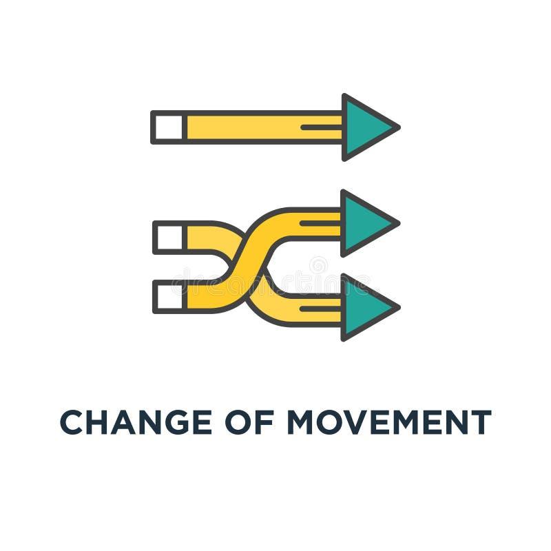 Änderung der Bewegungsrichtungsikone Stromersatzkonzept-Symbolentwurf, Ändern der Entwicklung, Weg, Weise oder Weg, Übertragung vektor abbildung