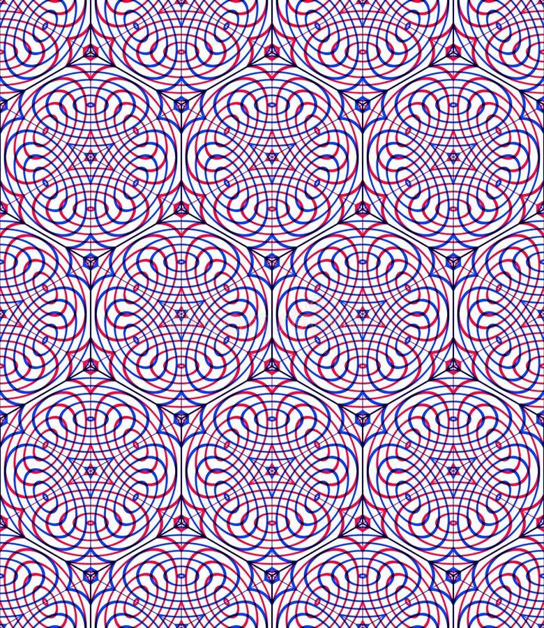 Ändlös färgrik symmetrisk modell, grafisk design Geometriskt in vektor illustrationer