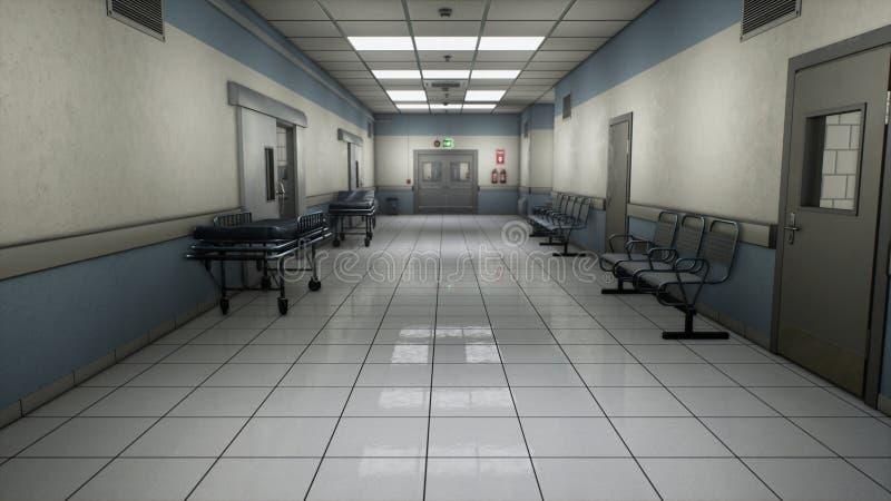 Ändlös korridor för tomt sjukhus Tom korridor av kliniken Ett långt ändlöst hall med dörrar Korridoren av vektor illustrationer