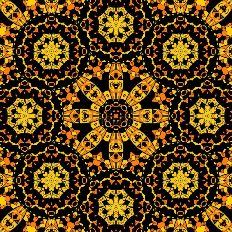Ändlös mandaladesign Färgat ändlöst för guling royaltyfri illustrationer