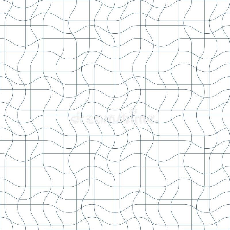Ändlös modell för svartvit vektor som skapas med tunn undulat stock illustrationer
