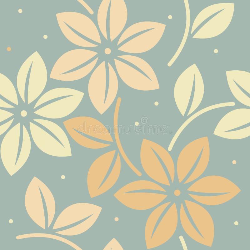 Ändlös modell med dekorativa blommor och sidor vektor illustrationer