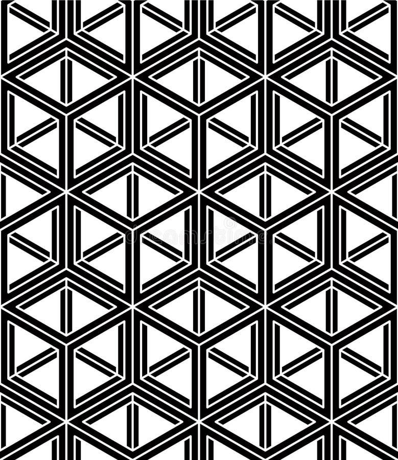 Ändlös monokrom symmetrisk modell, grafisk design geometriskt stock illustrationer