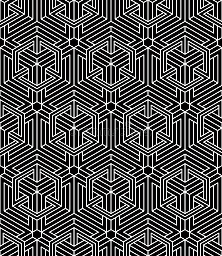 Ändlös monokrom symmetrisk modell, grafisk design geometriskt royaltyfri illustrationer