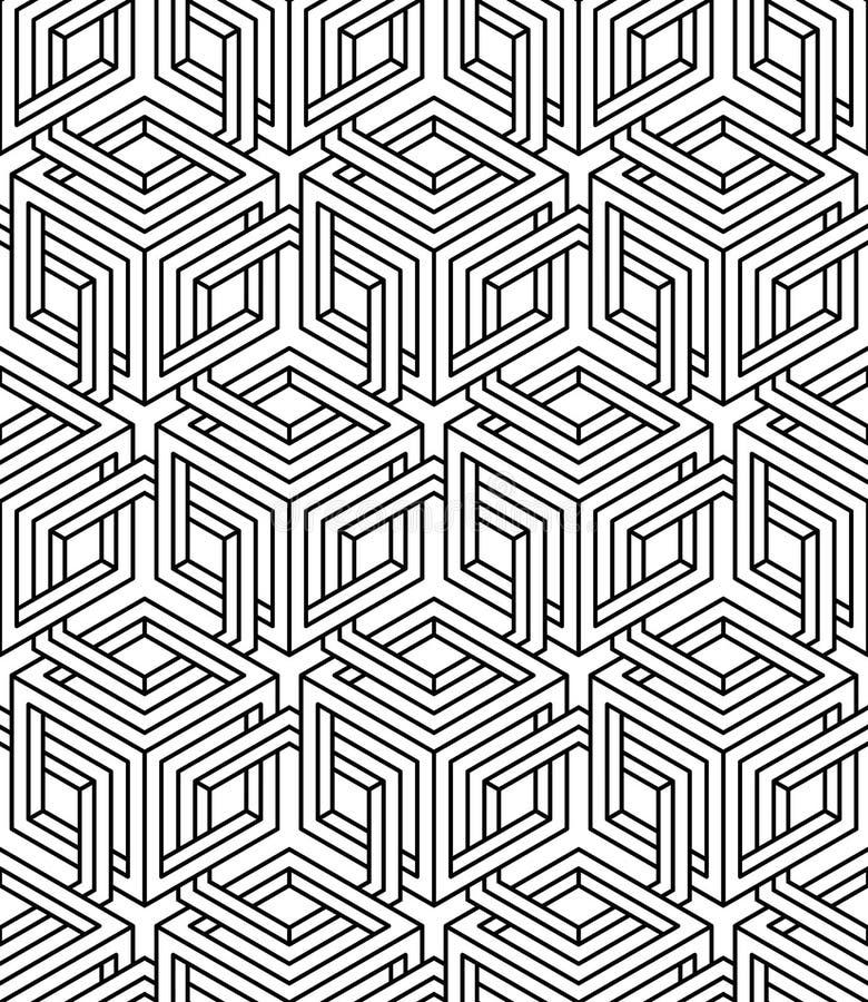 Ändlös monokrom symmetrisk modell, grafisk design geometriskt vektor illustrationer