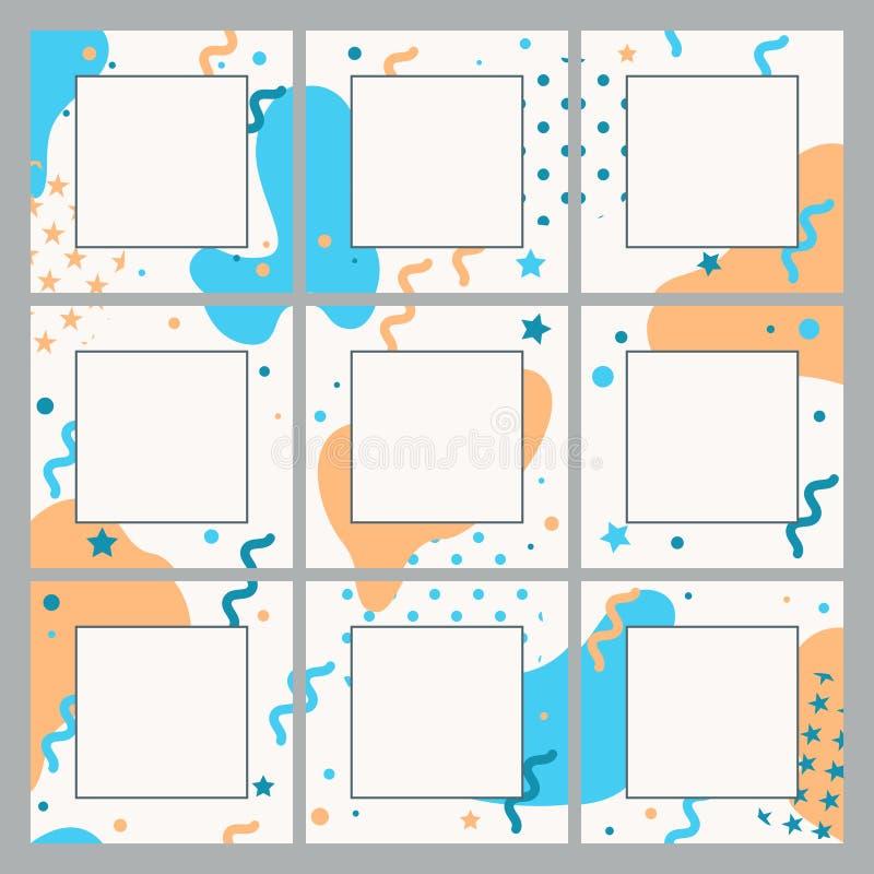 Ändlös redigerbar mall för vektor för sociala nätverk Fyrkantiga bakgrunder för design för socialt massmedia vektor illustrationer