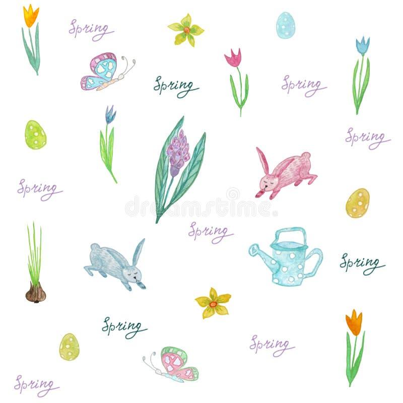 Ändlös textur för vårdesignen, garnering, hälsningkort stock illustrationer