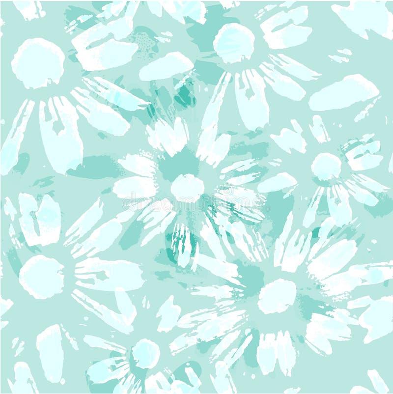 Ändlös textur för vektor med kamomillljus - blå blom- sömlös modell stock illustrationer