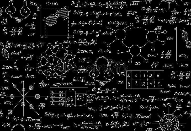 Ändlös textur för vetenskaplig vektor med kemiska och fysiska formler, uppgifter, täppor royaltyfri illustrationer