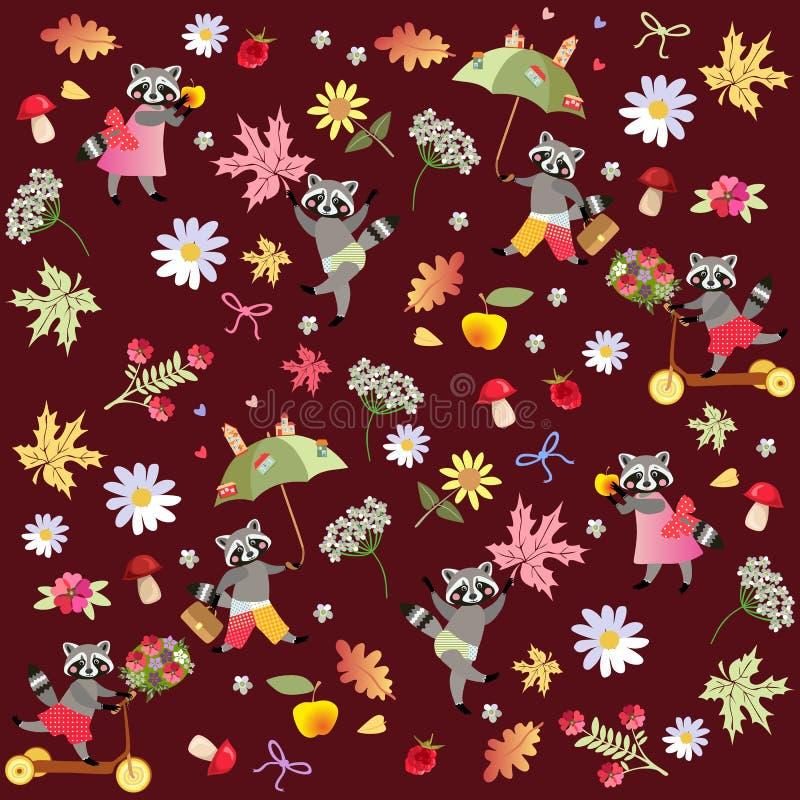 Ändlös vektormodell med gulliga tecknad filmtvättbjörnar, blommor, hallon, champinjoner, sidor och äpplen stock illustrationer
