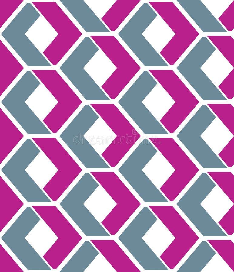 Ändlös vektortextur med purpurfärgade geometriska diagram, motivabst stock illustrationer