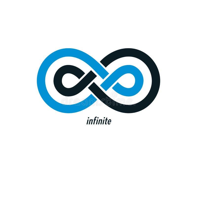 Ändlöst symbol för oändlighetsöglasvektor, begreppsmässig logosakkunnigdes stock illustrationer