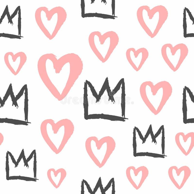 Ändlöst tryck med kronor och hjärtor som målas med den grova borsten Stilfull sömlös modell för flickor Grunge skissar, akvarelle stock illustrationer