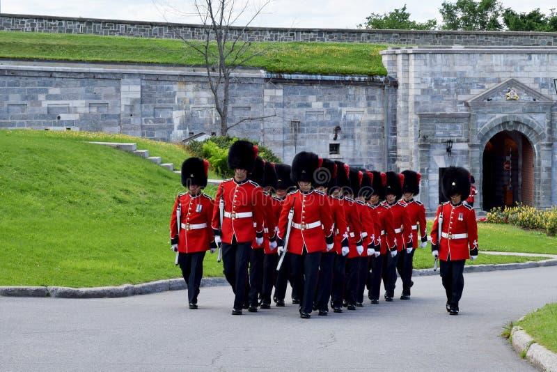 Ändra av vakten på Citadellen, Quebec, Kanada royaltyfri foto