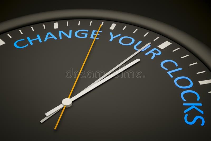 ändra dina klockor stock illustrationer