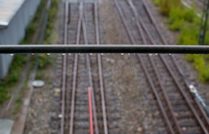 Ändra för järnvägspår arkivfoto