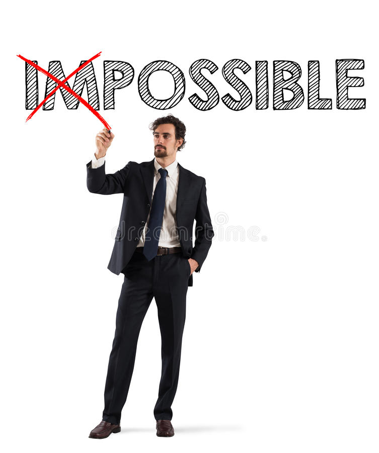 Ändra omöjligt till möjligt arkivfoton