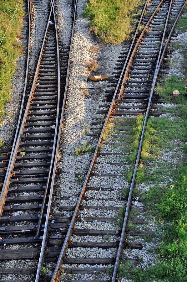 ändrande järnvägspår arkivbilder