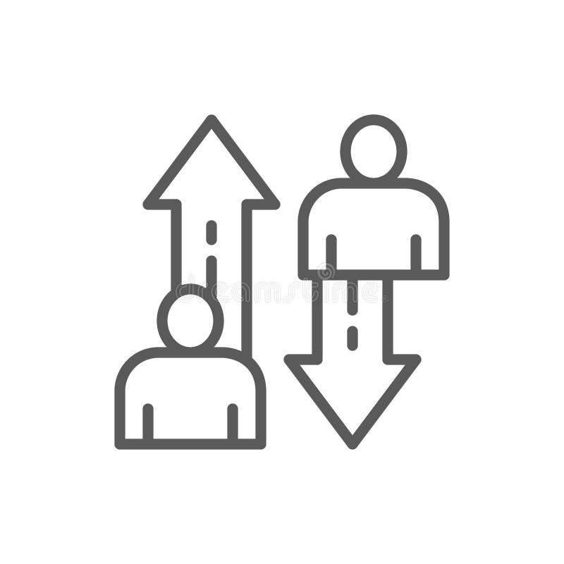 Ändring av anställda, lagkonkurrenslinje symbol royaltyfri illustrationer
