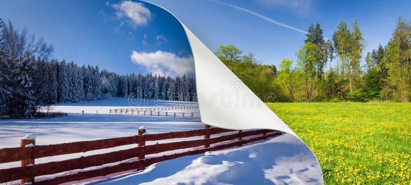 Ändring av säsongen från vinter till våren royaltyfri illustrationer