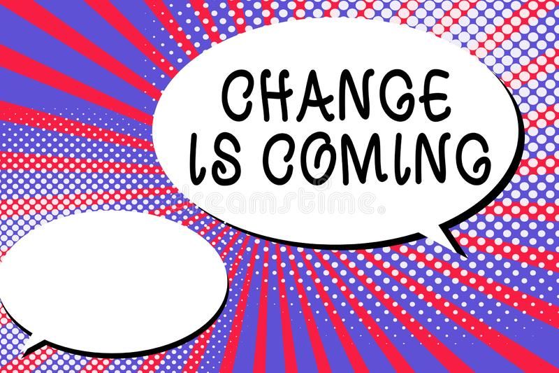 Ändring för ordhandstiltext är kommande Affärsidé för att berätta någon den framtid som går att vara olikt royaltyfri illustrationer
