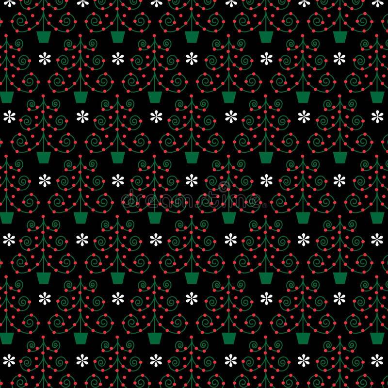 Ändrings-julträd och snöflingor på svart bakgrund vektor illustrationer