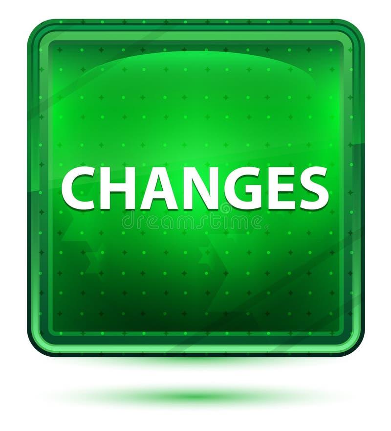 Ändringsneonljus - grön fyrkantig knapp royaltyfri illustrationer