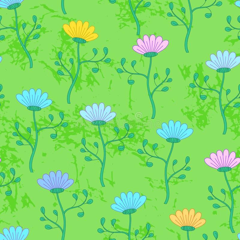 Äng för grönt gräs med blommor, sömlös modell för sommar stock illustrationer