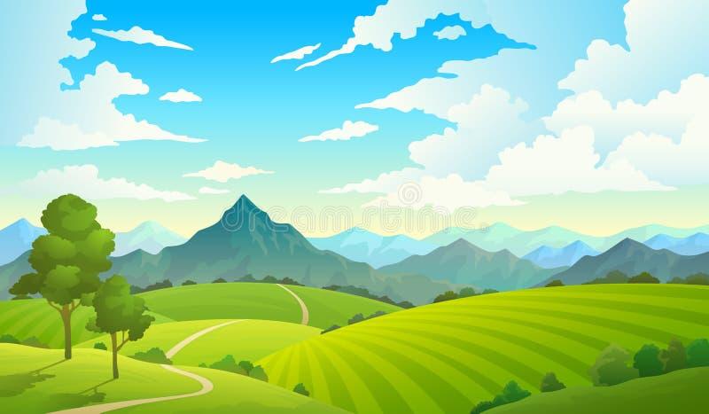 Ängar med berg Träd för bygd för skog för gräs för natur för himmel för land för berg för landskapkullefält löst Sommarland stock illustrationer