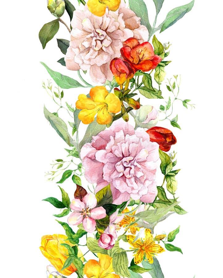 Ängblommor, lösa gräs och sidor Upprepa sommargränsen Blom- vattenfärg stock illustrationer