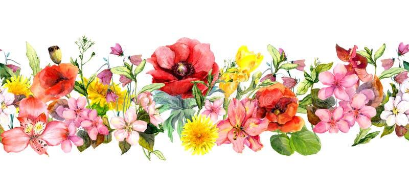 Ängblommor, lösa gräs och sidor Upprepa sommarhorisontalgränsen Blom- vattenfärg stock illustrationer