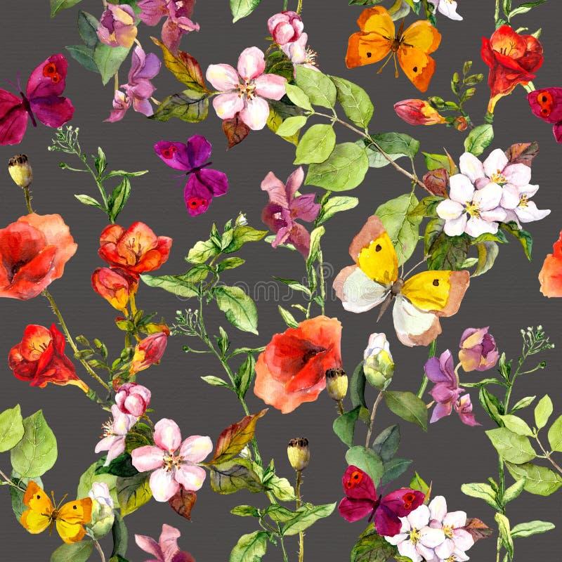 Ängblommor och fjärilar som upprepar modellen vattenfärg royaltyfri illustrationer
