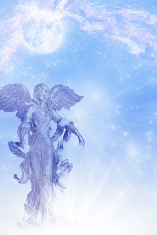 Ängelärkeängel av månen Luna med stjärnor över blå backround stock illustrationer