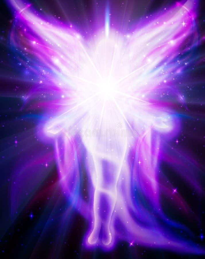 Ängel av ljus och förälskelse som gör ett mirakel stock illustrationer