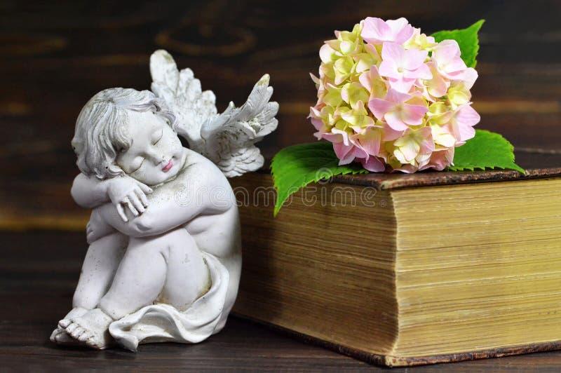 Ängel, blomma och stängd bok royaltyfri bild