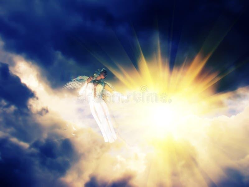 Ängel i den mörka himlen royaltyfri illustrationer