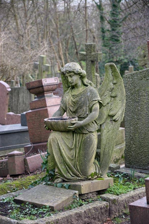 Ängel i kyrkogård royaltyfri foto