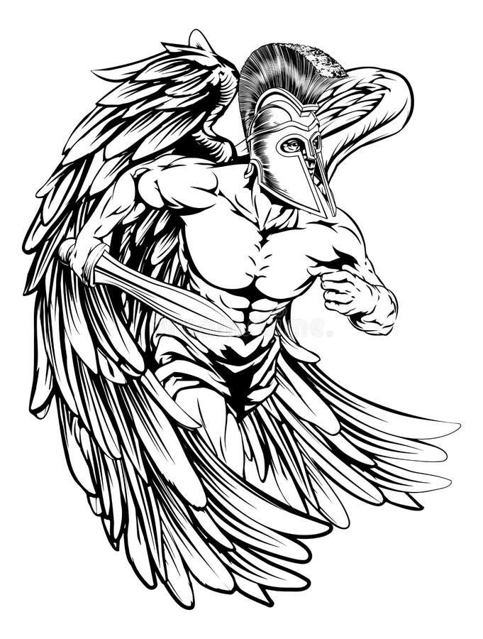 Ängel med svärdet stock illustrationer