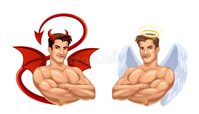Ängel och jäkel royaltyfri illustrationer