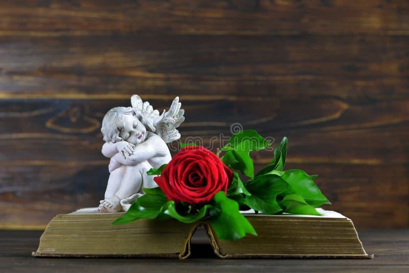 Ängel och röd ros på den öppna boken royaltyfri foto