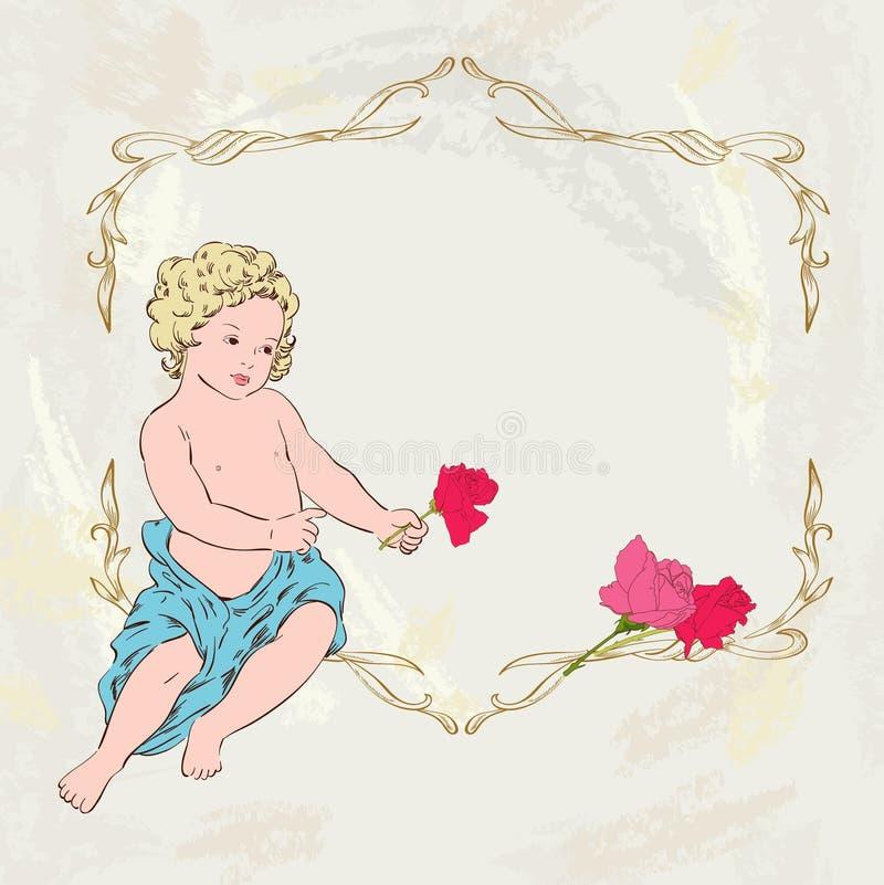 Ängel och rosor stock illustrationer
