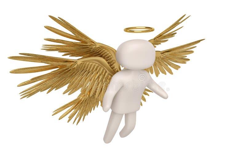 Ängel och sex guld- vingar på vit bakgrund illustration 3d stock illustrationer
